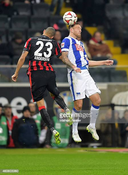 Anderson Soares de Oliveira of Eintracht Frankfurt and Julian Schieber of Hertha BSC go up for a header during the Bundesliga match between Eintracht...