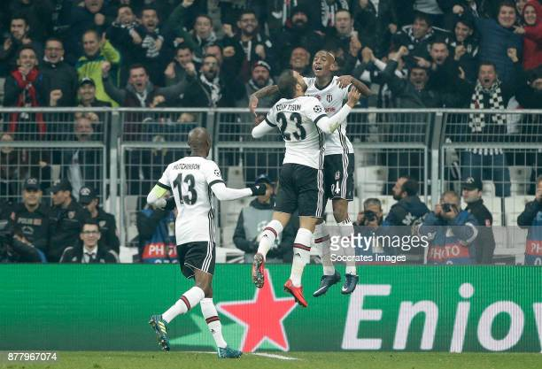 Anderson Talisca of Besiktas celebrate 11 with Cenk Tosun of Besiktas Atiba Hutchinson of Besiktas during the UEFA Champions League match between...