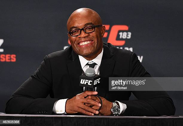 Anderson 'The Spider' Silva interacts with the media during the UFC 183 post fight press conference at the MGM Grand Garden Arena on January 31 2015...