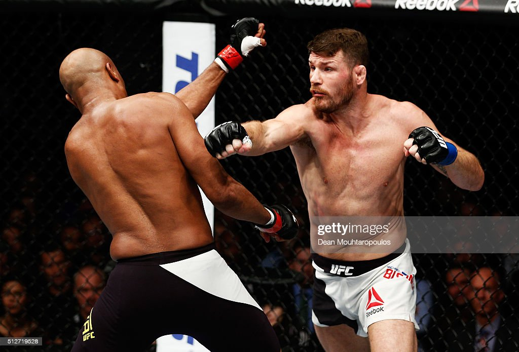 Anderson 'The Spider' Silva of Brazil and Michael 'The Count' Bisping of England compete in their Middleweight bout during the UFC Fight Night held...