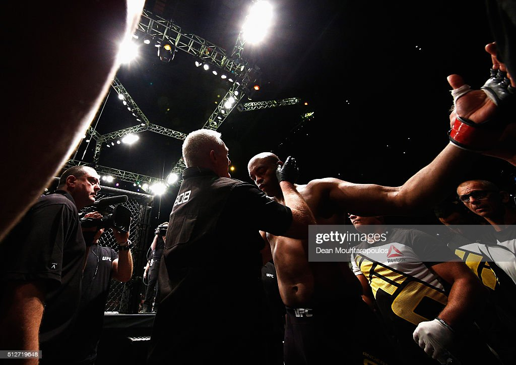 Anderson 'The Spider' Silva of Brazil gets ready to enter the rind and face Michael 'The Count' Bisping of England compete in their Middleweight bout...