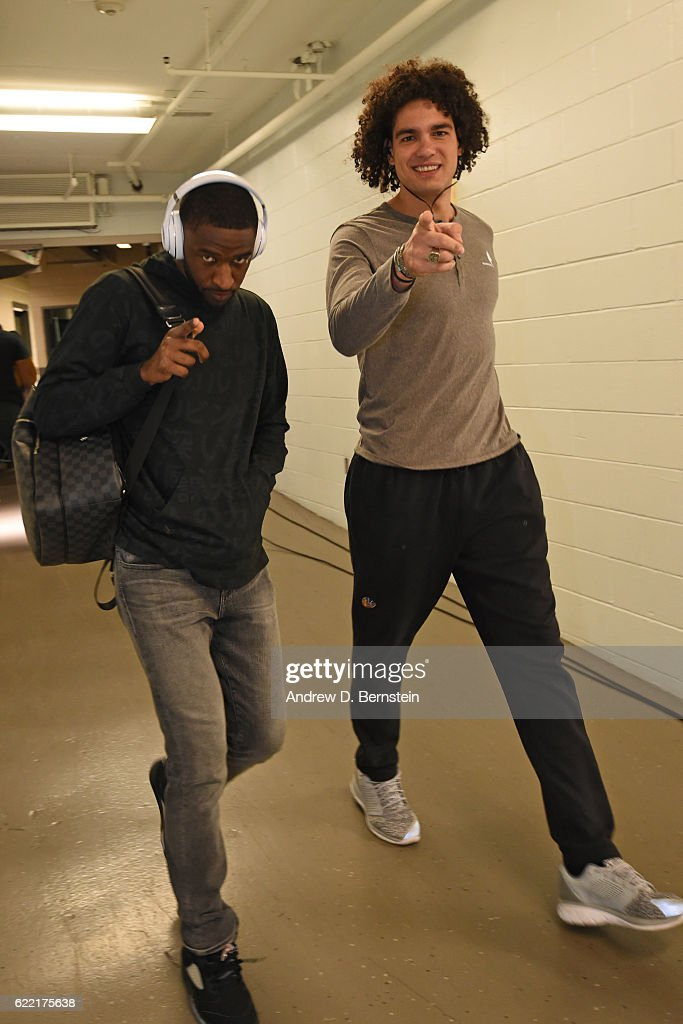 Anderson Varejao #18 and Damian Jones #15 of the Golden State Warriors arrive prior to a game against the New Orleans Pelicans at Smoothie King Center on October 28, 2016 in New Orleans, Louisiana.