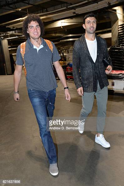 Anderson Varejao and Zaza Pachulia of the Golden State Warriors arrive at the STAPLES Center before the game against the Los Angeles Lakers on...