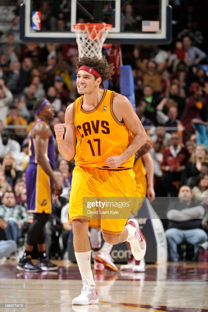 <a gi-track='captionPersonalityLinkClicked' href=/galleries/search?phrase=Anderson+Varejao&family=editorial&specificpeople=202247 ng-click='$event.stopPropagation()'>Anderson Varejao</a> #17 of the Cleveland Cavaliers celebrates during the game against the Los Angeles Lakers at The Quicken Loans Arena on December 11, 2012 in Cleveland, Ohio.
