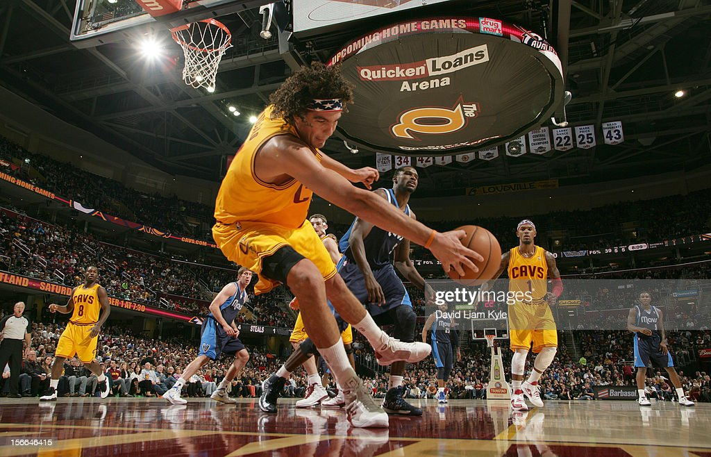 <a gi-track='captionPersonalityLinkClicked' href=/galleries/search?phrase=Anderson+Varejao&family=editorial&specificpeople=202247 ng-click='$event.stopPropagation()'>Anderson Varejao</a> #17 of the Cleveland Cavaliers dives out of bounds to save the loose ball in the game against the Dallas Mavericks at The Quicken Loans Arena on November 17, 2012 in Cleveland, Ohio.