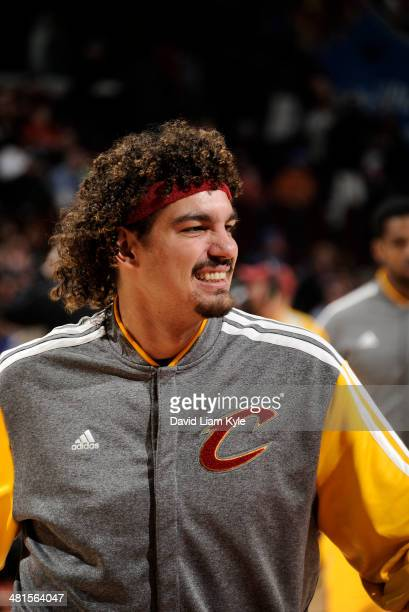 Anderson Varejao of the Cleveland Cavaliers during warms ups prior to the game against the Indiana Pacers at The Quicken Loans Arena on March 30 2014...