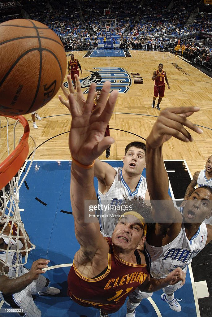 Anderson Varejao #17 of the Cleveland Cavaliers fights for the ball against the Orlando Magic on November 23, 2012 at Amway Center in Orlando, Florida.