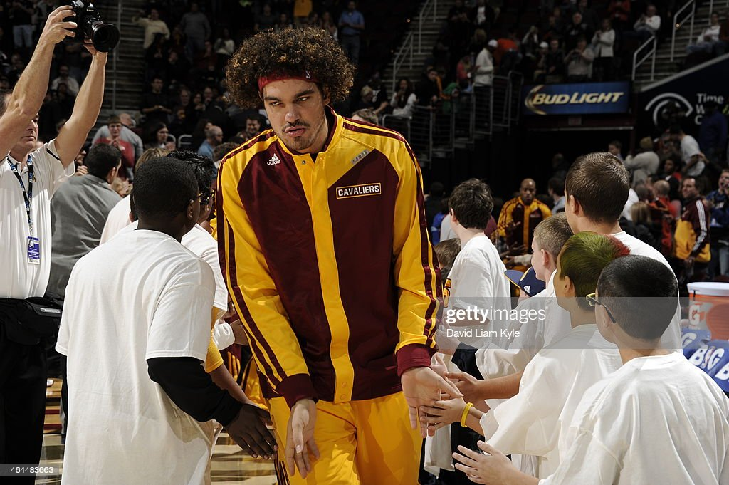 <a gi-track='captionPersonalityLinkClicked' href=/galleries/search?phrase=Anderson+Varejao&family=editorial&specificpeople=202247 ng-click='$event.stopPropagation()'>Anderson Varejao</a> #17 of the Cleveland Cavaliers gets introduced before the game against the Miami Heat at The Quicken Loans Arena on November 27, 2013 in Cleveland, Ohio.
