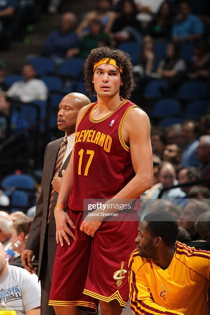 <a gi-track='captionPersonalityLinkClicked' href=/galleries/search?phrase=Anderson+Varejao&family=editorial&specificpeople=202247 ng-click='$event.stopPropagation()'>Anderson Varejao</a> #17 of the Cleveland Cavaliers looks down court against the Minnesota Timberwolves during the game on December 7, 2012 at Target Center in Minneapolis, Minnesota.