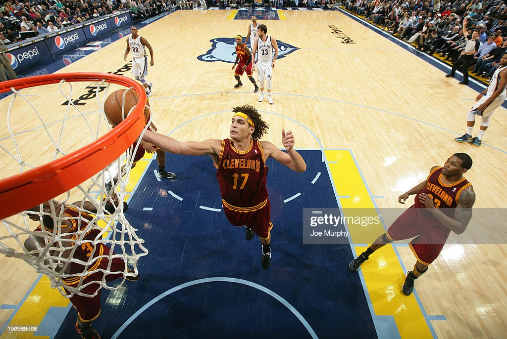 <a gi-track='captionPersonalityLinkClicked' href=/galleries/search?phrase=Anderson+Varejao&family=editorial&specificpeople=202247 ng-click='$event.stopPropagation()'>Anderson Varejao</a> #17 of the Cleveland Cavaliers rebounds against the Memphis Grizzlies on November 26, 2012 at FedExForum in Memphis, Tennessee.