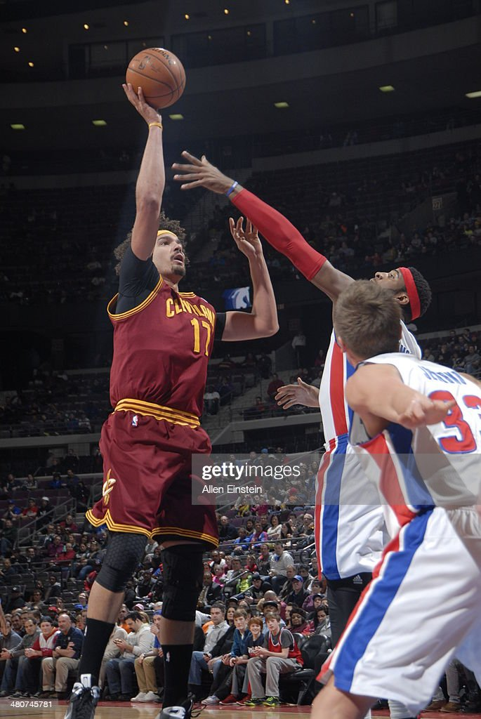 <a gi-track='captionPersonalityLinkClicked' href=/galleries/search?phrase=Anderson+Varejao&family=editorial&specificpeople=202247 ng-click='$event.stopPropagation()'>Anderson Varejao</a> #17 of the Cleveland Cavaliers shoots against the Detroit Pistons on March 26, 2014 at The Palace of Auburn Hills in Auburn Hills, Michigan.