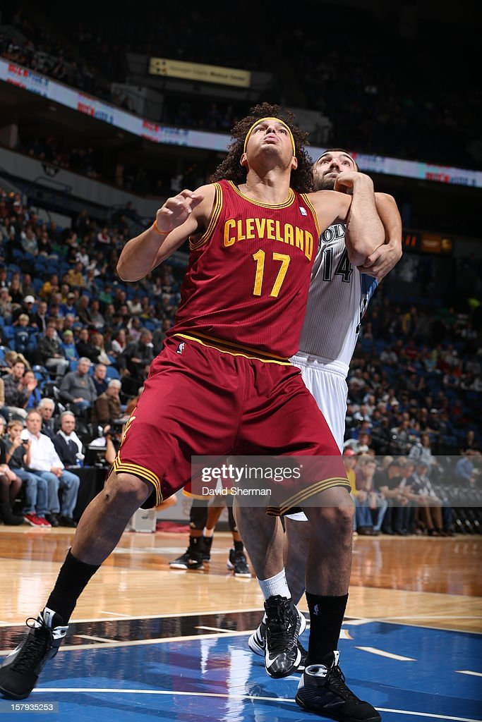 Anderson Varejao #17 of the Cleveland Cavaliers trys to grab a rebound against the Minnesota Timberwolves on December 7, 2012 at Target Center in Minneapolis, Minnesota.
