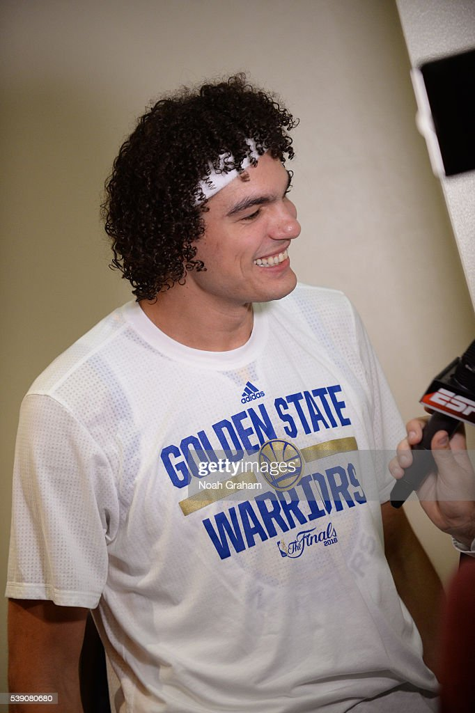 Anderson Varejao #18 of the Golden State Warriors before facing the Cleveland Cavaliers for Game Two of the 2016 NBA Finals on June 5, 2016 at ORACLE Arena in Oakland, California.