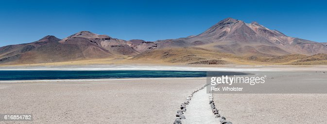 Andes volcano and lake : Stock Photo