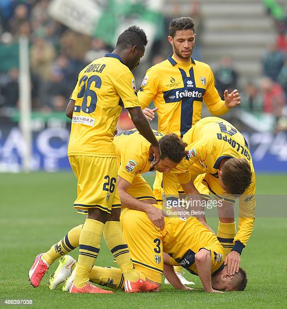 EMILIA ITALY MARCH 15 Andi Lila of Parma celebrates after scoring the goal to 11 during the Serie A match between US Sassuolo Calcio and Parma FC at...