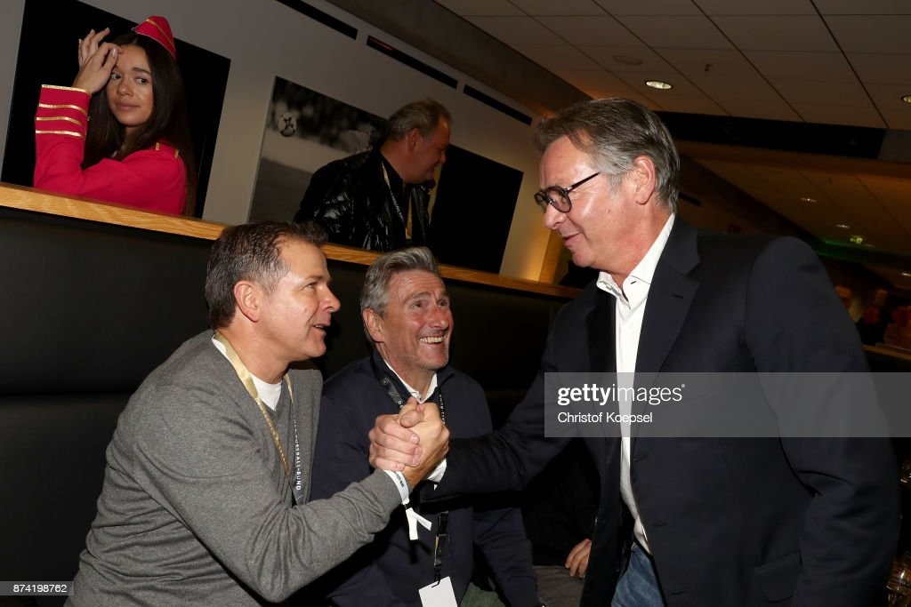 Andi Moeller, Dieter Mueller and Stephan Engels communicate during the Club Of Former National Players Meeting at RheinEnergieStadion on November 14, 2017 in Cologne, Germany.