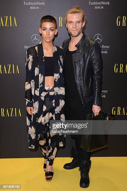Andi Weizel and Alina Sueggeler arrives for the Opening Night by Grazia fashion show during the MercedesBenz Fashion Week Spring/Summer 2015 at Erika...