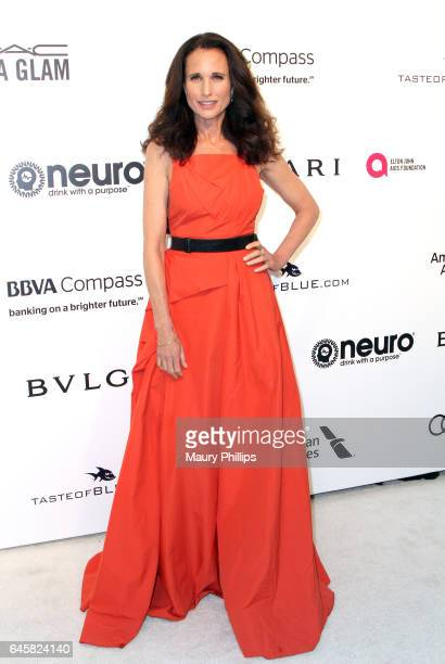 Andie Mac Dowell attends the 25th annual Elton John AIDS Foundation's Oscar Viewing Party Arrivals at The City of West Hollywood Park on February 26...