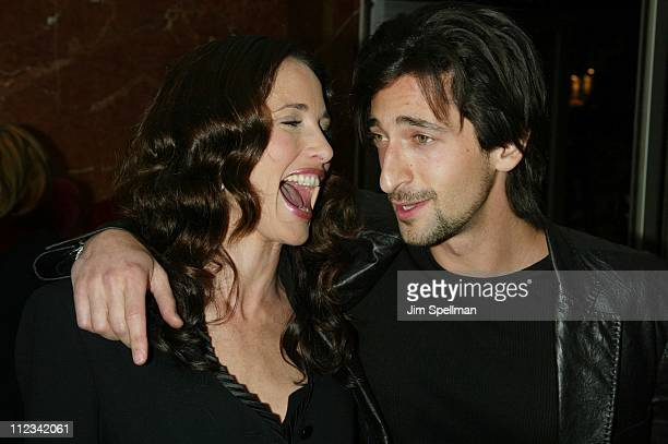 Andie MacDowell Adrien Brody during 'Harrison's Flowers' New York City Premiere at The DGA Theater in New York City New York United States