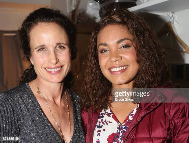 Andie MacDowell and Barrett Doss pose backstage at the hit musical based on the film 'Groundhog Day' on Broadway at The August Wilson Theater on...