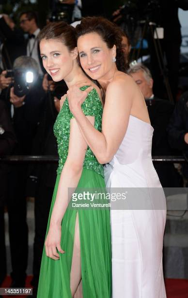 Andie MacDowell and daughter Rainey Qualley attend the Closing Ceremony Therese Desqueyroux Premiere during the 65th Annual Cannes Film Festival at...