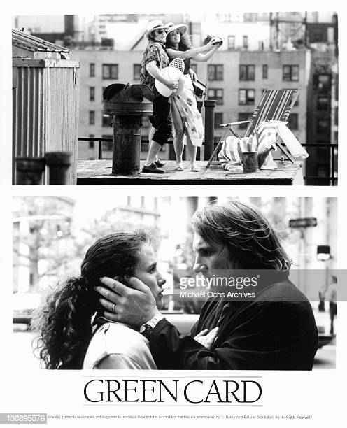 Andie MacDowell and Gerard Depardieu in a split photo in a scene from the film 'Green Card' 1990