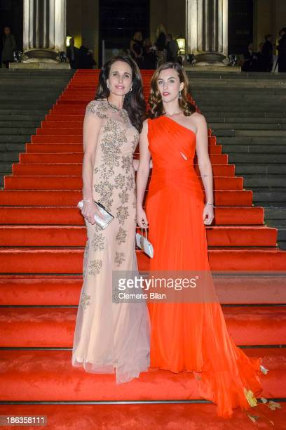 Andie MacDowell and Rainey Qualley arrive for Prix Montblanc 2013 at Konzerthaus Am Gendarmenmarkt on October 30 2013 in Berlin Germany
