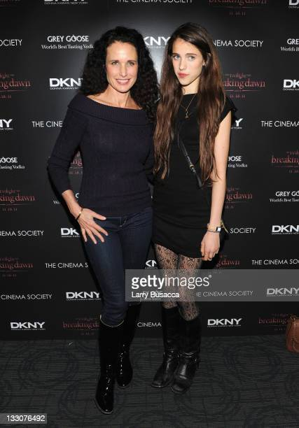Andie MacDowell and Rainey Qualley attend the Cinema Society DKNY screening of 'The Twilight Saga Breaking Dawn Part 1' at Landmark Sunshine Cinema...
