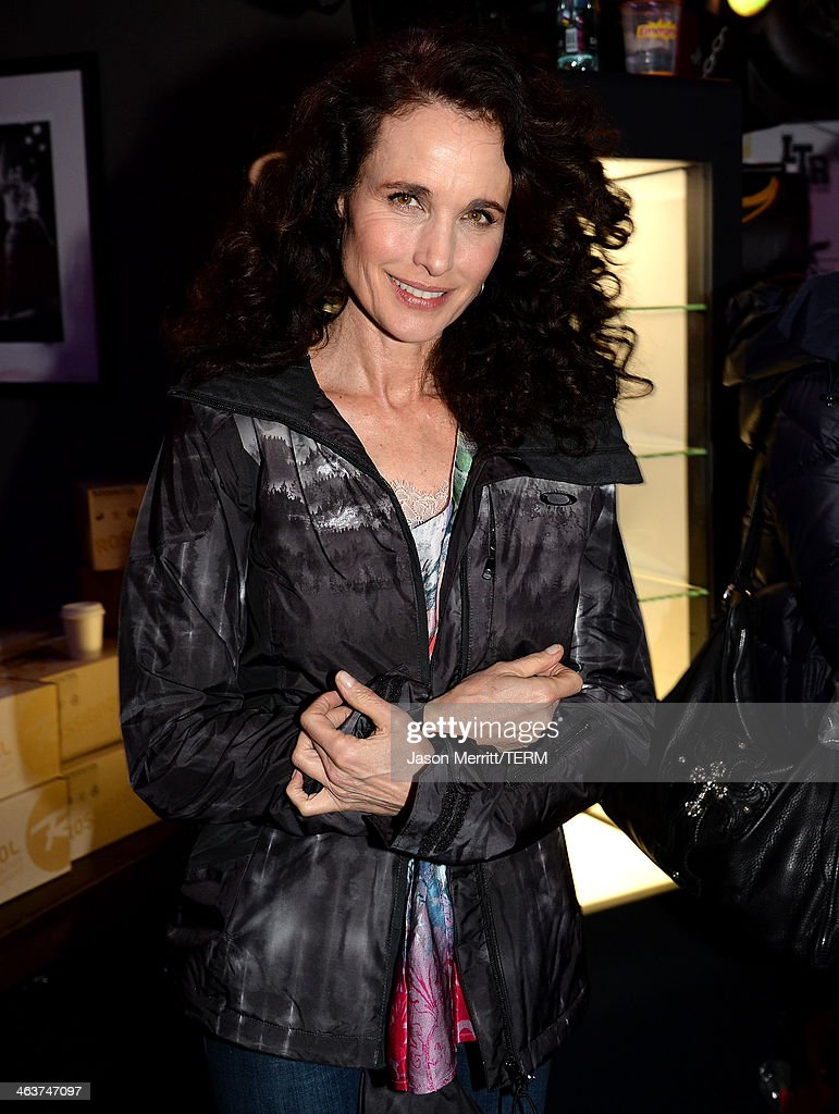 <a gi-track='captionPersonalityLinkClicked' href=/galleries/search?phrase=Andie+MacDowell&family=editorial&specificpeople=204572 ng-click='$event.stopPropagation()'>Andie MacDowell</a> attends Day 2 of Oakley Learn To Ride With AOL At Sundance on January 18, 2014 in Park City, Utah.