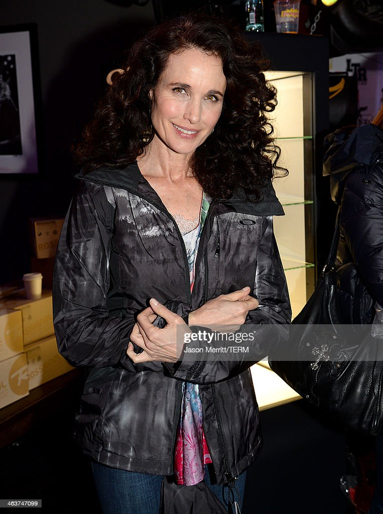 Andie MacDowell attends Day 2 of Oakley Learn To Ride With AOL At Sundance on January 18, 2014 in Park City, Utah.