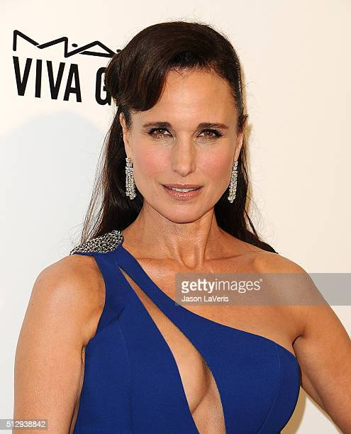 Andie MacDowell attends the 24th annual Elton John AIDS Foundation's Oscar viewing party on February 28 2016 in West Hollywood California