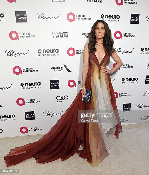 Andie MacDowell attends the Elton John AIDS Foundation's 23rd annual Academy Awards Viewing Party at The City of West Hollywood Park on February 22...