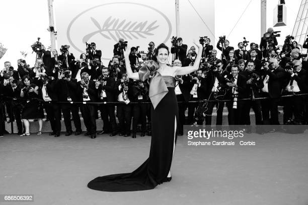 Andie MacDowell attends 'The Meyerowitz Stories' premiere during the 70th annual Cannes Film Festival at Palais des Festivals on May 21 2017 in...
