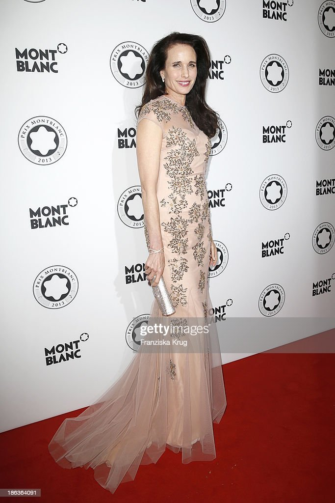 <a gi-track='captionPersonalityLinkClicked' href=/galleries/search?phrase=Andie+MacDowell&family=editorial&specificpeople=204572 ng-click='$event.stopPropagation()'>Andie MacDowell</a> attends the Prix Montblanc 2013 at Konzerthaus Am Gendarmenmarkt on October 30, 2013 in Berlin, Germany.