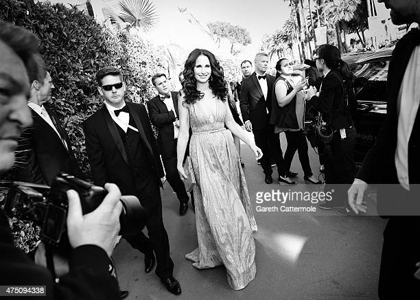 Andie MacDowell departs the Martinez Hotel during the 68th annual Cannes Film Festival on May 18 2015 in Cannes France