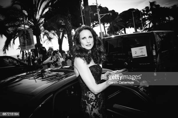 Andie MacDowell departs the Martinez Hotel on May 22 2017 in Cannes France