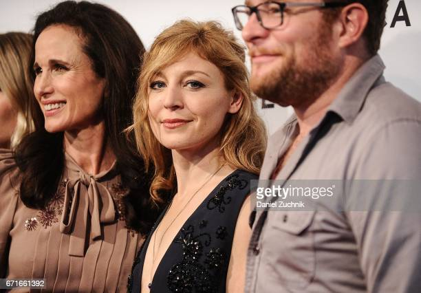 Andie MacDowell Juliet Rylance and James Adomian attend the 'Love After Love' premiere during the 2017 Tribeca Film Festival at SVA Theatre on April...