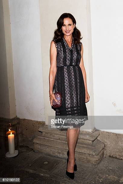 Andie MacDowell wearing Bottega Veneta attends the dinner honouring Bottega Veneta's Tomas Maier 15th anniversary as Creative Director during Milan...
