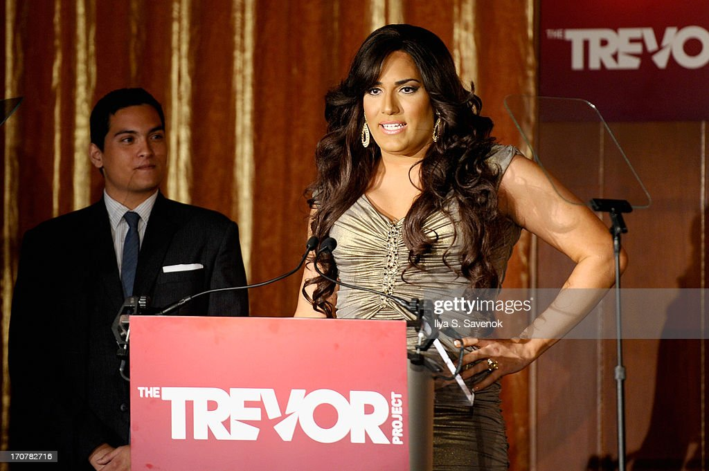Andii Viveros speaks on stage at The Trevor Project's 2013 'TrevorLIVE' Event Honoring Cindy Hensley McCain at Chelsea Piers on June 17, 2013 in New York City.