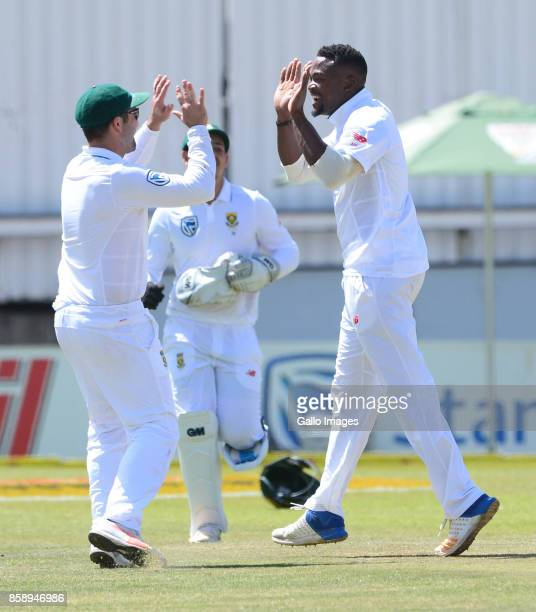 Andile Phehlukwayo of the Proteas celebrates the wicket of Liton Das of Bangladesh with Dean Elgar of the Proteas during day 3 of the 2nd Sunfoil...