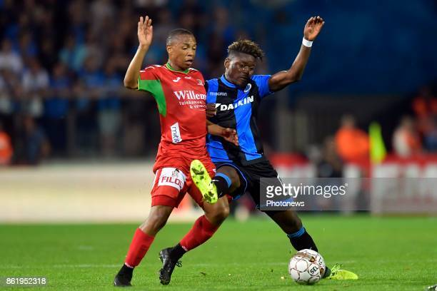 Andileernest Jali midfielder of KV Oostende battles for the ball with Anthony Limbombe forward of Club Brugge during the Jupiler Pro League match...