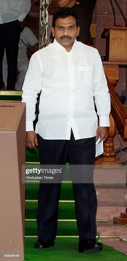 Andimuthu Raja member of the 15th Lok Sabha representing the Nilgiris constituency of Tamil Nadu after attending ongoing parliament budget session on March 11, 2013 in New Delhi, India.