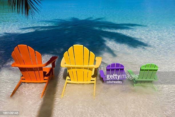 andirondack chairs for family vacation at a Caribbean beach