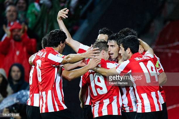 Andoni Iraola of Athletic Club celebrates after scoring his team's second goal during the La Liga match between Athletic Club and RC Celta de Vigo at...