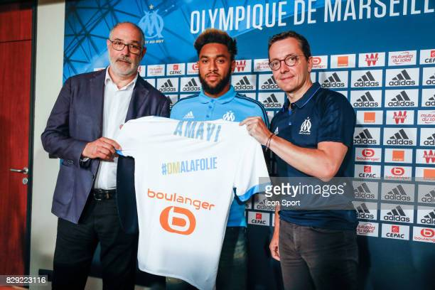 Andoni Zubizarreta Manager and New signing player Jordan Amavi and Jacques Henri Eyraud President during press conference of Olympique de Marseille...