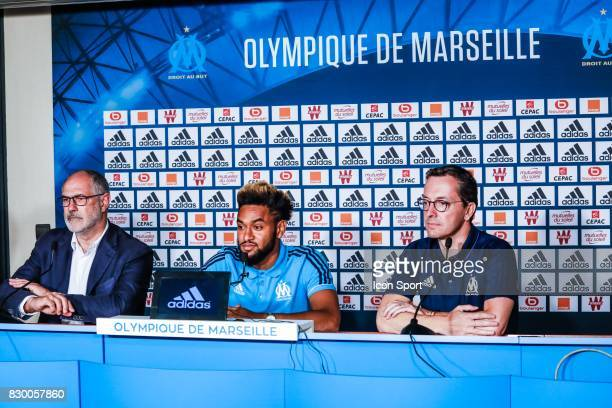 Andoni Zubizarreta of Marseille Jordan Amavi new player of Marseille and Jacques Henri Eyraud president of Marseille during press conference of...