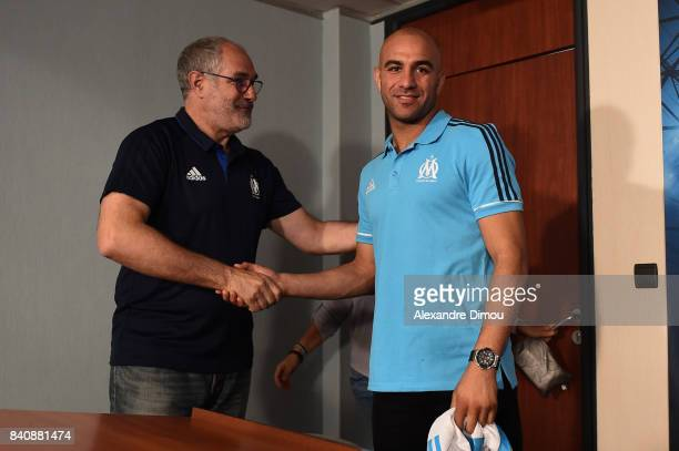 Andoni Zubizarreta Sports Director and Aymen Abdenour of Marseille during press conference on August 30 2017 in Marseille France