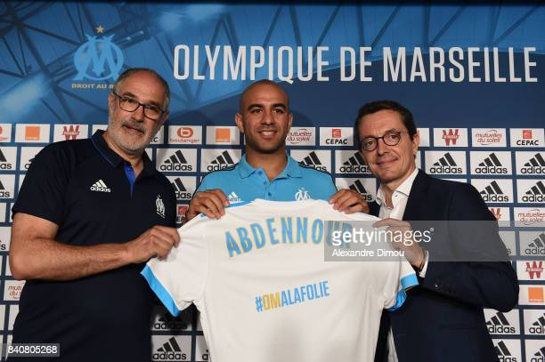 Andoni Zubizarreta Sports Director and new signing player Aymen Abdennour of Olympique de Marseille and Jacques Henri Eyreaud President of Marseille...