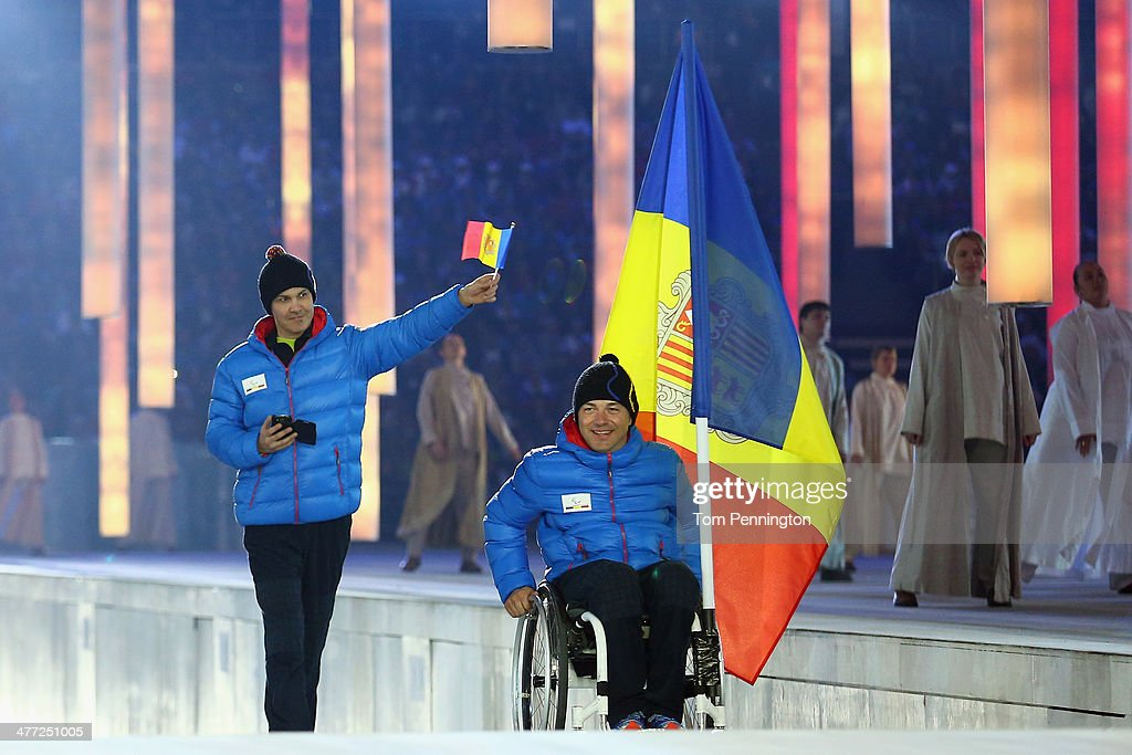Andorra enter the arena lead by flag bearer Xavier Fernandez during the Opening Ceremony of the Sochi 2014 Paralympic Winter Games at Fisht Olympic Stadium on March 7, 2014 in Sochi, Russia.
