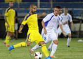 Andorra's FC Santa Coloma Joel Martinez fights for the ball against Israel's Maccabi TelAviv Gal Aberman during their UEFA Champions League second...